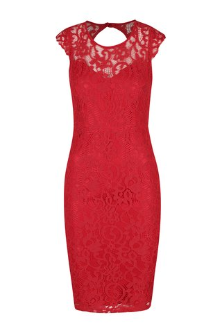Rochie rosie din dantela brodata cu decupaj la spate AX Paris