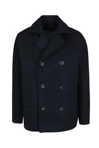 Tmavě modrý pánský vlněný kabát Makia Pea