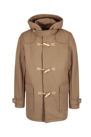 Světle hnědý pánský vlněný kabát s kapucí Makia Duffle