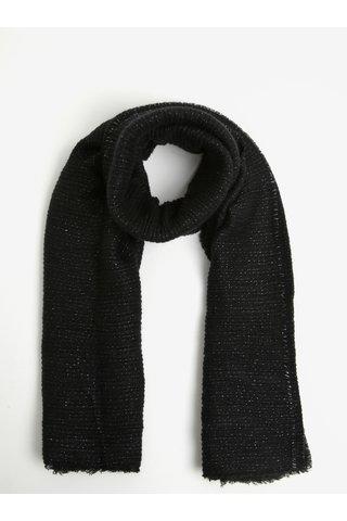Esarfa supradimensionata negru cu fibre metalice argintii - Pieces Roxan