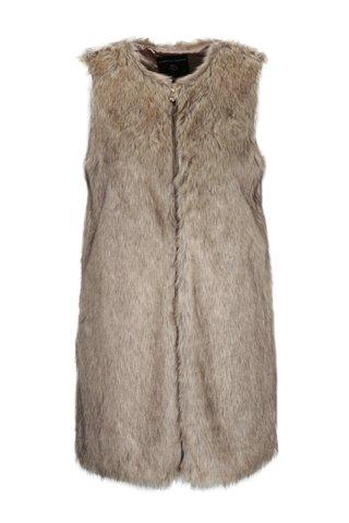 Hnědá dlouhá vesta z umělé kožešiny Dorothy Perkins