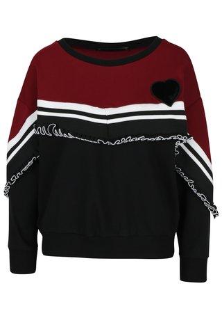 Bluza bordo cu negru cu volan decorativ Fornarina Carrie