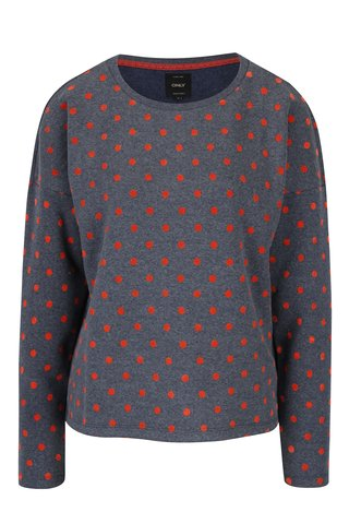 Pulover gri - albastru & rosu ONLY Dot