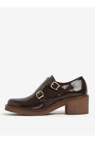 Pantofi maro luciosi din piele cu catarame OJJU
