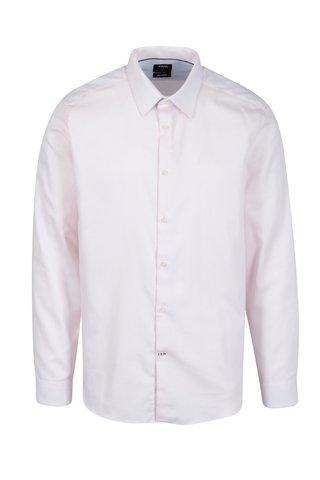 Camasa slim fit alb & roz pal din bumbac - Burton Menswear London