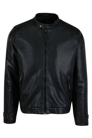 Jacheta neagra cu perforatii si aspect de piele - Burton Menswear London