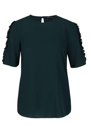 Bluza verde inchis cu volane pe maneci Dorothy Perkins