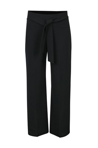 Pantaloni culottes negri cu talie inalta si funda -  Miss Selfridge Petites