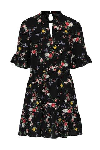 Rochie neagra cu imprimeu floral si volane discrete - Miss Selfridge Petites