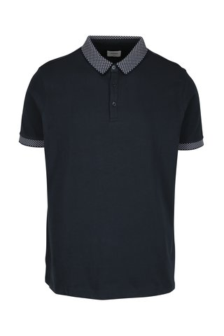 Tricou polo bleumarin cu model discret - Burton Menswear London