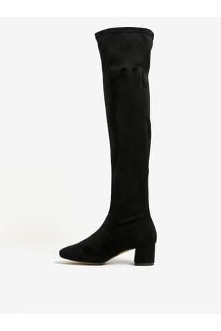 Cizme negre inalte cu toc cu aspect de piele intoarsa OJJU