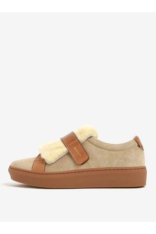 Pantofi sport bej&maro din piele intoarsa cu detaliu din blana artificiala GANT Anne