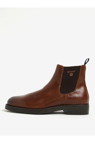 Pantofi chelsea maro din piele naturala pentru barbati GANT Oscar