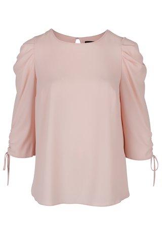 Bluza roz cu sireturi la maneci Dorothy Perkins Curve