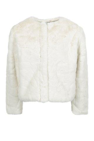 Krémový holčičí kabát z umělé kožešiny Name it Wamma