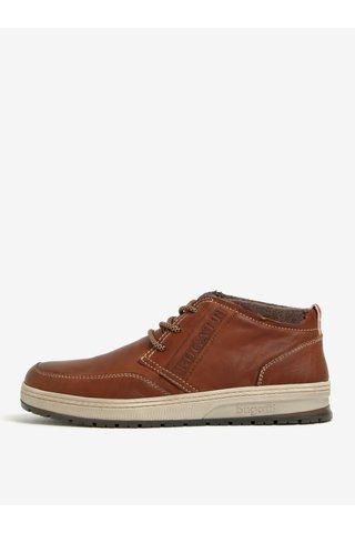Hnědé pánské kožené kotníkové boty bugatti Revel