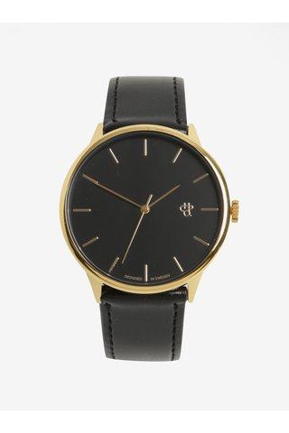 Unisex hodinky ve zlaté barvě s černým páskem z veganské kůže CHPO Khorshid