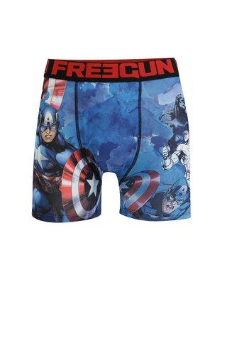 Boxeri albastri cu print pentru barbati Captain America Freegun