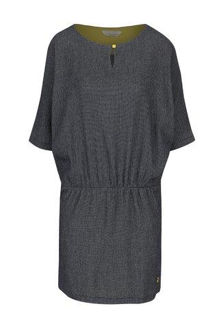 Rochie albastru inchis&crem cu print geometric si maneci liliac Skunkfunk
