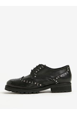 Pantofi brogue negri din piele naturala cu tinte argintii -  OJJU
