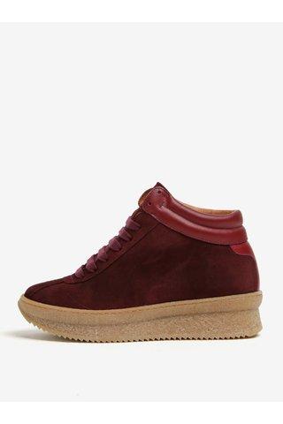 Pantofi sport bordo din piele intoarsa cu platforma - OJJU