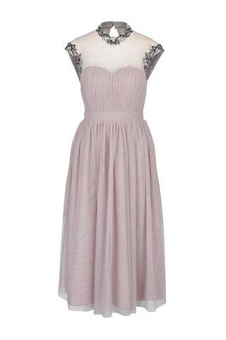 Rochie maxi roz prafuit din tul cu aplicatii decorative -  Little Mistress