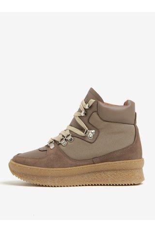 Pantofi sport cu platforma maro deschis din piele intoarsa OJJU