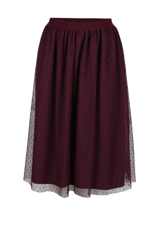 Fusta midi bordo din tul cu buline Little Mistress