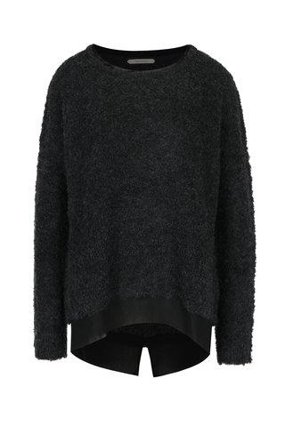 Pulover gri inchis cu amestec de lana alpaca Skunkfunk
