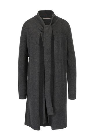Cardigan lung gri inchis cu esarfa din amestec de lana Skunkfunk