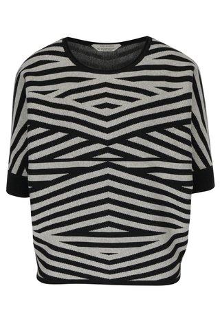 Pulover gri&negru cu maneci liliac 3/4 si model geometric Skunkfunk