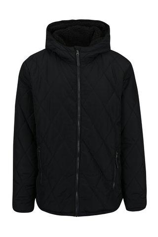 Černá pánská zimní voděodpudivá prošívaná bunda s kapucí a umělým kožíškem LOAP Totem