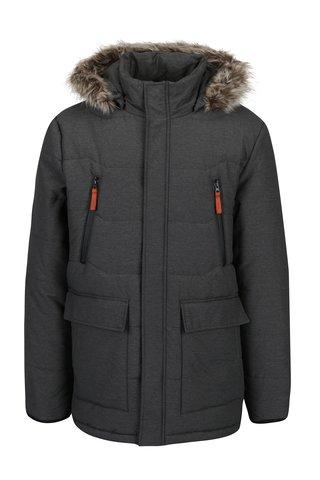 Šedá pánská zimní voděodpudivá prošívaná bunda s kapucí a umělým kožíškem LOAP Tron