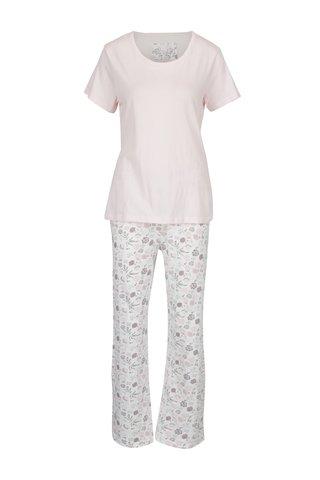 Světle růžové dámské květované pyžamo s květinami M&Co