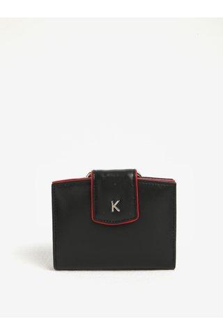 Portofel negru din piele naturala cu detalii rosii pentru femei - KARA