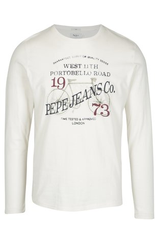 Bluza slim crem cu print inscriptie Pepe Jeans AVENUE