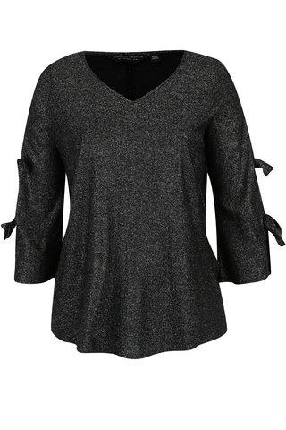 Bluza neagra cu fir argintiu si funde pe maneci Dorothy Perkins Curve