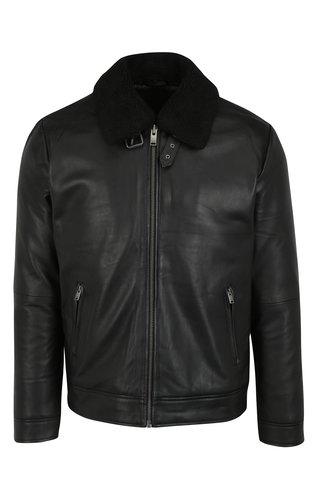 Jacheta neagra din piele cu guler detasabil de blana artificiala - Selected Homme Teddy