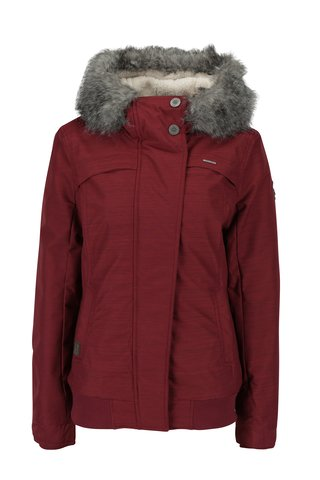 Geaca bordo de iarna cu gluga si blana artificiala pentru femei Ragwear Wooki