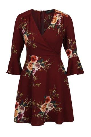 Rochie bordo cu print floral si maneci clopot 3/4  AX Paris