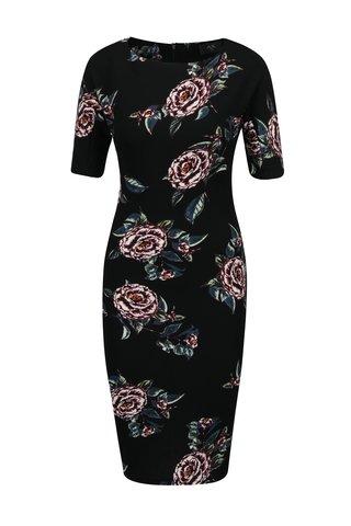 Rochie neagra cu print floral si decolteu rotund AX Paris