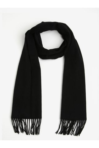 Fular negru de lana cu franjuri - Selected Homme Tope