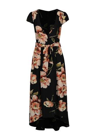 Rochie asimetrica neagra cu print floral si decolteu suprapus AX Paris