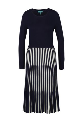 Rochie tricotata bleumarin cu pliuri Fever London Lewes