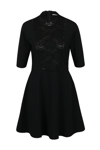 Rochie neagra cu insertie de dantela - Rich & Royal