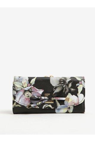 Krémovo-černá květovaná peněženka s retro zapínáním LYDC