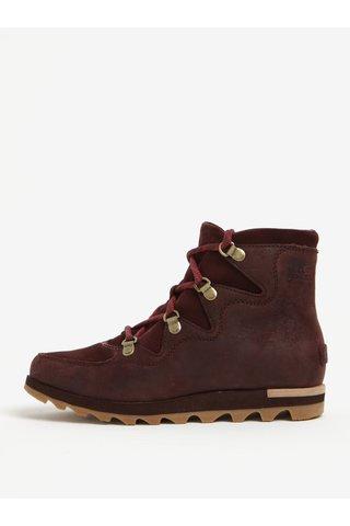 Vínové dámské kotníkové kožené voděodolné zimní boty SOREL