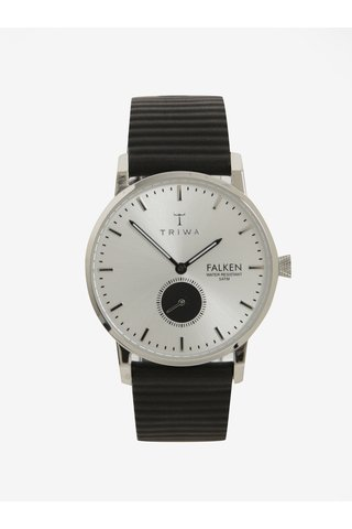 Unisex hodinky ve stříbrné barvě s černým koženým páskem TRIWA Charles Falken