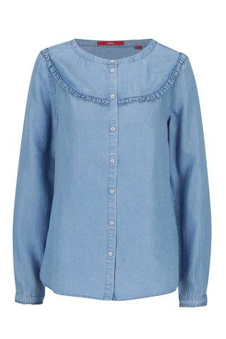 Camasa albastru deschis din denim cu volane scurte pentru femei - s.Oliver