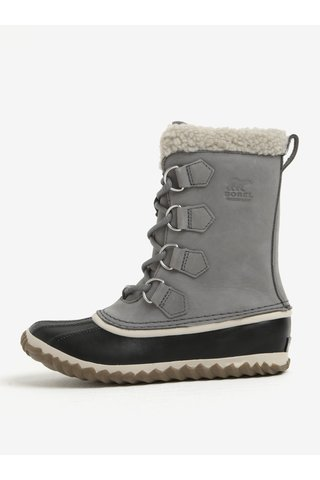 Šedé dámské kožené voděodolné zimní boty s umělým kožíškem SOREL